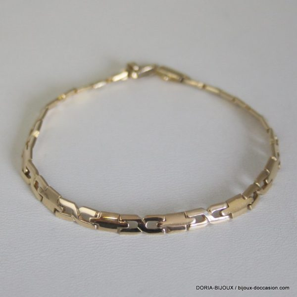 Bracelet Or Jaune 585 14k Maille Fantaisie 11grs