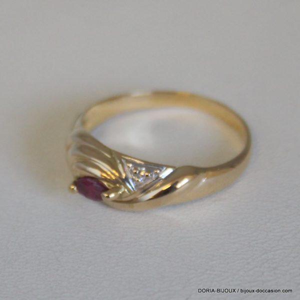 Bague Or 18k 750/000 Rubis Diamant 2.9grs-55-