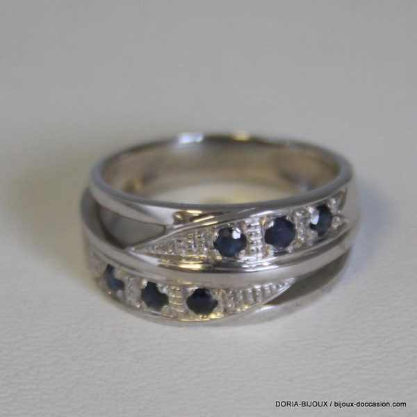 Bague Or Gris 18k 750 Saphirs 6.1grs -55