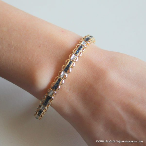 Bracelet Or 14k 585/000 60 Saphirs Diamants 14grs