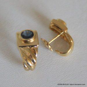 Boucles D'oreilles Or 18k 750 Saphir 3.8gr