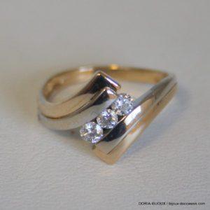 Bague Or 750 18k Trilogie Diamants 3.2 Grs - 52