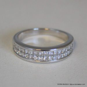 Bague Or Gris 750 18k Pavage Diamants 3.8 Grs - 51