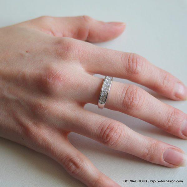 Bague Or Gris 750 18k Pavage Diamants 3.8 Grs - 51