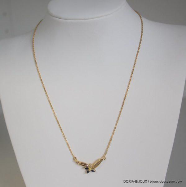 Collier Or Jaune Saphir Diamant - 4.7grs