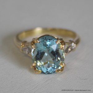 Bague Or 18k 750 Topaze Diamants 5.3grs - 53