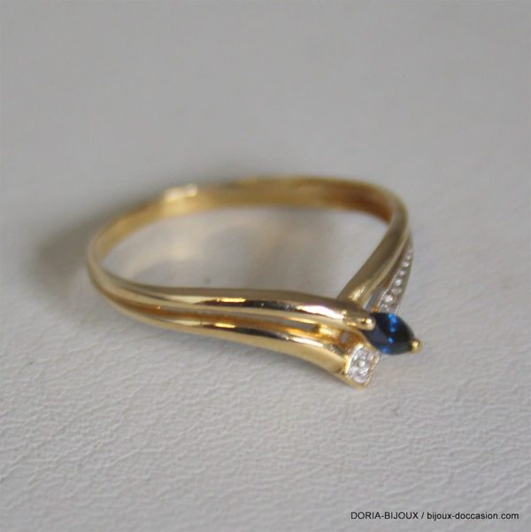 Bague Or 18k 750 Saphirs Diamants 1.5grs - 55