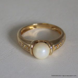 Bague Or Jaune 18k 750 Perle Et Diamants 4.8grs- 51