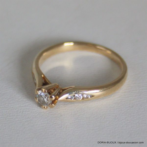 Bague Or 750 18k Solo Accompagne Diamant 2.7grs -53