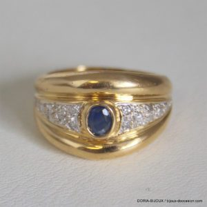 Bague Or 18k 750 Saphirs Diamants 7.4grs - 56