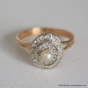 Bague Vintage Or Rose 18k 750 Perle Diamants - 51