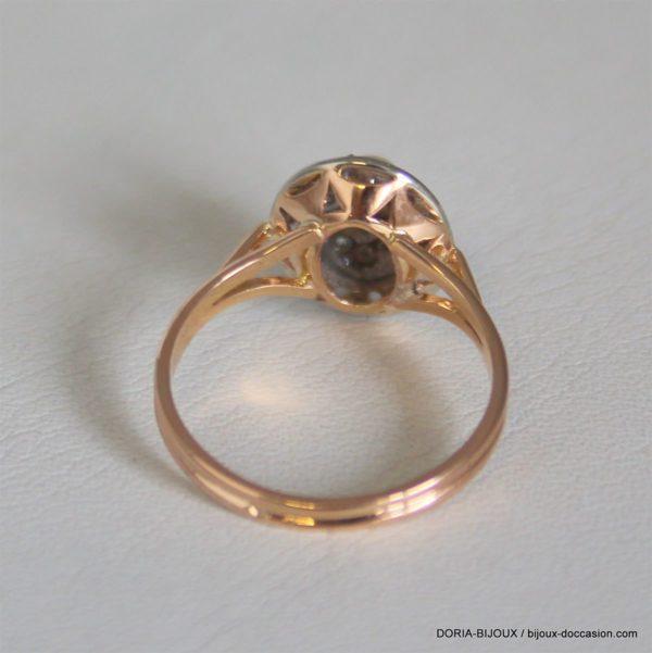 Bague Vintage Or Rose 18k 750 Perle Diamants - 51