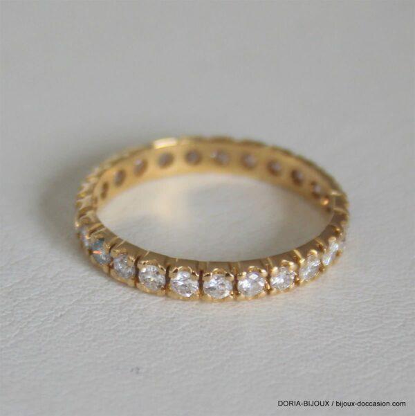 Bague Or 750 18k Tour Complet Diamants 1.8grs -54