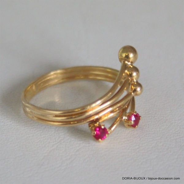Bague Boules Or 18k 750/000 Rubis 2.6grs - 54
