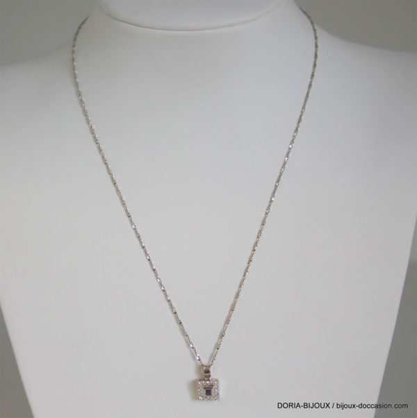 Collier Or 18k 750/000 Saphirs Diamants- 3.7grs