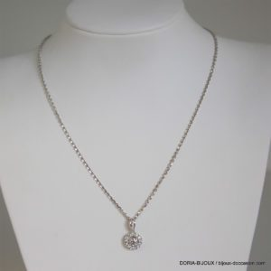 Collier Or Gris 18k, 750/000 Diamants - 1.6grs