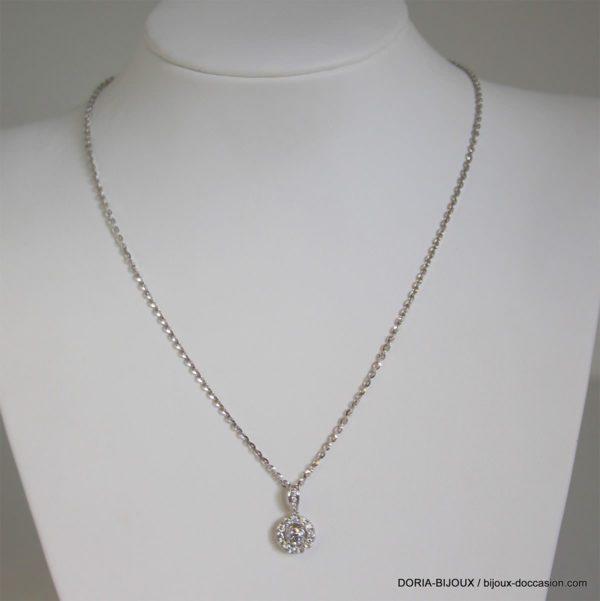 Collier Or Gris 18k, 750/000 Diamants - 1.6grs