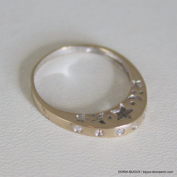 Bague Ajouré Etoile Or 750 18k Diamants 2.2grs -54