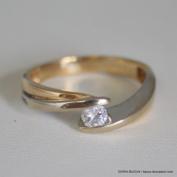 Bague Or 18k 750 Diamant 0.20ct 4.2grs -59-