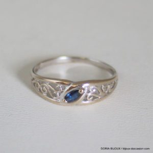 Bague Or 18k 750 Saphir 3grs - 53