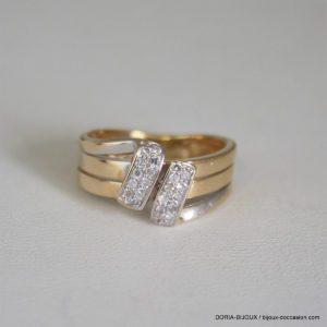 Bague Or Bicolore 18k 750 Diamants 3.7grs -50-