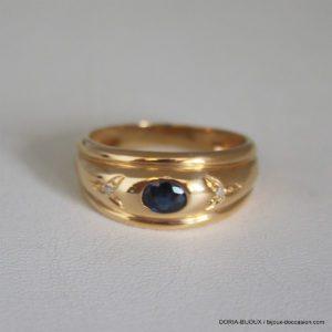 Bague Or 18k 750 Saphir Diamant 4.5grs - 58