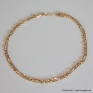 Bracelet Or 750 18k Maille Alternée 21cm 4.7grs