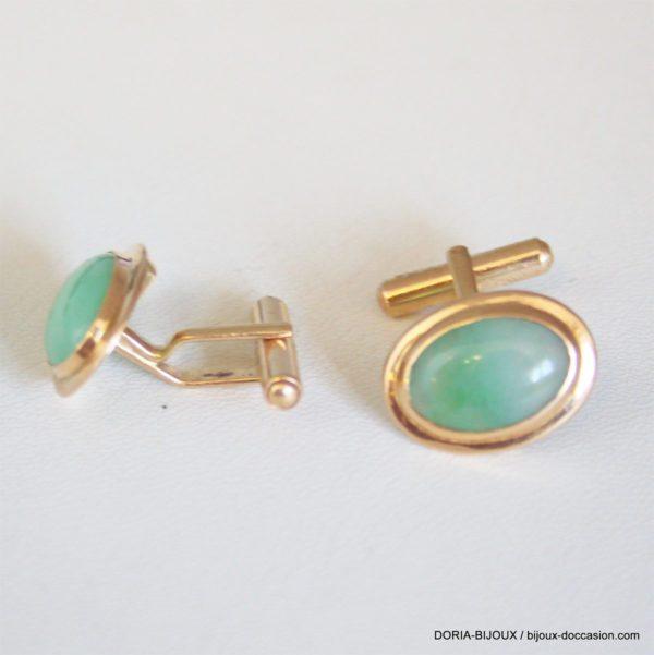 Bouton De Manchette Vintage Or 18k, 750 Jade -9.7grs