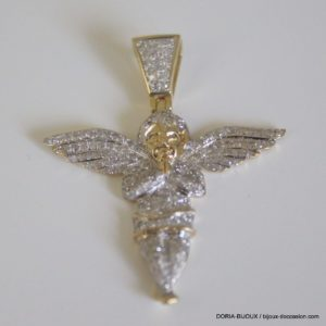 Pendentif Ange Or 10k 375/000 Diamants 0.6grs