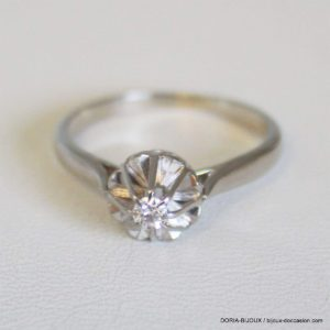 Bague Vintage Or 18k 750 Solitaire Diamant 2.8grs