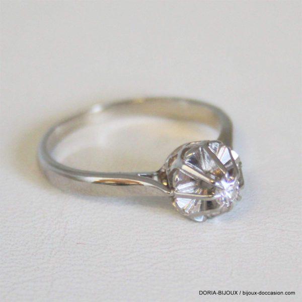 Bague Vintage Or 18k 750 Solitaire Diamant 2.8grs