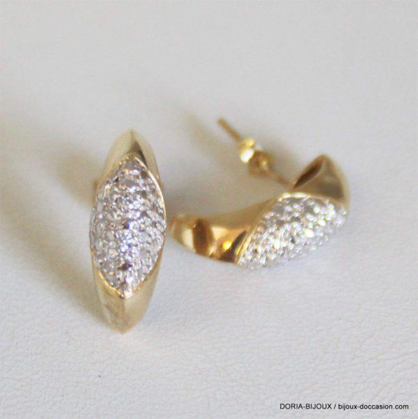 Boucles D'oreilles Or 18k Diamants - 4.7grs