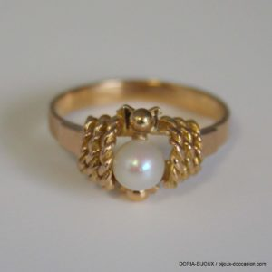 BAGUE VINTAGE OR 18K 750 PERLES - 3GRS