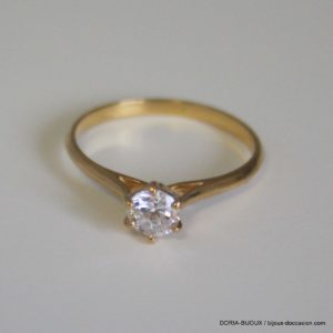 bague or 18k, 750 solitaire oxydes -1.7grs - 54