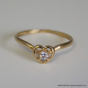 bague coeu or 18k, 750 solitaire oxydes -1grs - 53