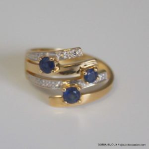 bague or 18k 750/000 saphirs diamants 4.3grs -52