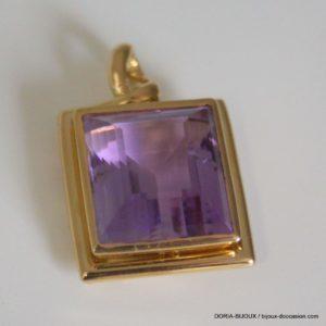 PENDENTIF OR jaune 18k 750 Amethyste - 10.6GRS