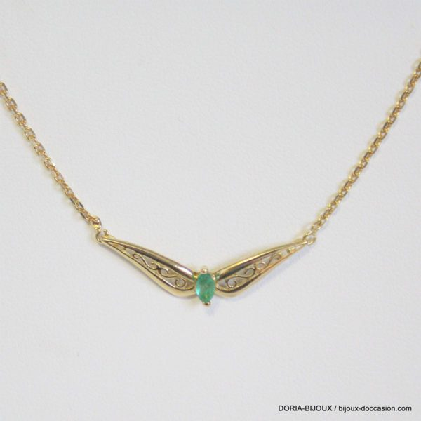 Collier Or 18k- 750 Pendentif Emeraude 3.8 Grs