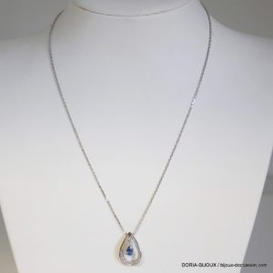 Collier Or 18k 750/000 Saphirs Diamants- 4grs