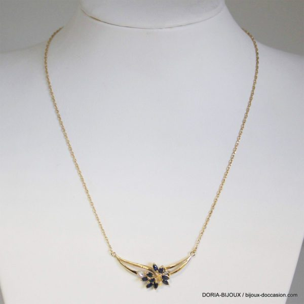 Collier Or 18k 750/000 Saphirs Diamants- 3.8grs