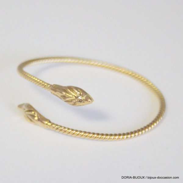 Bracelet Or 18k Semi Regide Tete Serpent 18cm-11.4cm