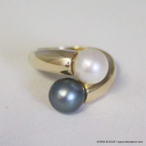 Bague Or 18k 750 Perles Toi & Moi -51- 5.2grs