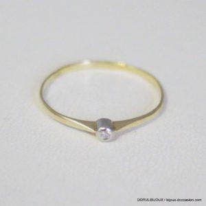 Bague Or Bicolore 18k 750 Solo Diamant- 0.6grs- 51