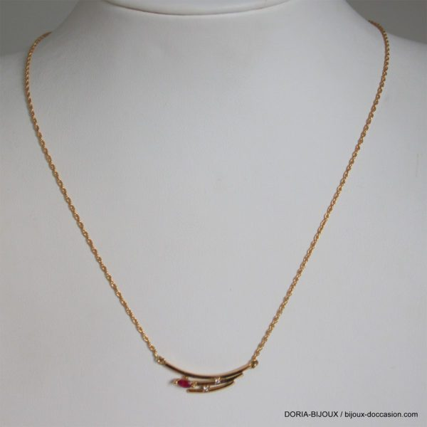 Collier Or 18k 750 Rubis Diamants 3.2grs
