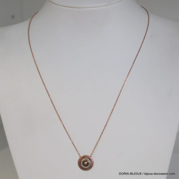 Collier Or Rose 9k Pendentif 3ors Et Diamant -2.8grs