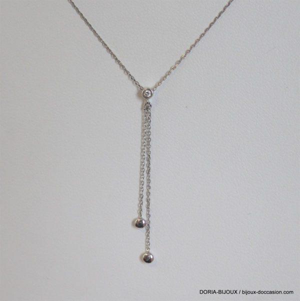 Collier Or 9k 375/000 Gris Pendant Diamant 1gr -