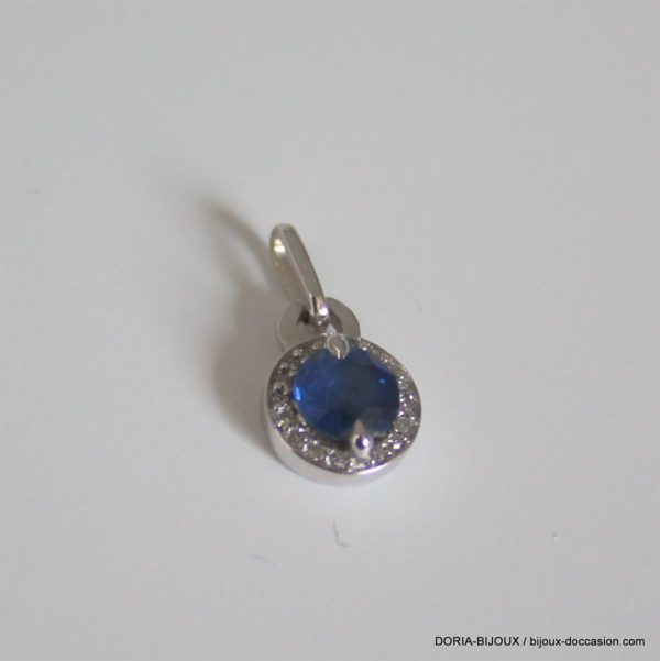 Pendentif Saphir Diamants Or Gris 18k 750 - 1grs