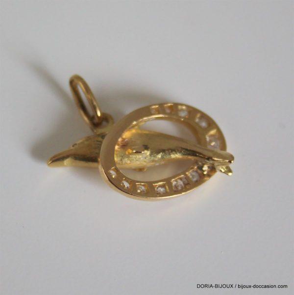 Pendentif Dauphin Or 18k 750 Diamants 5.4grs