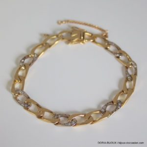 Bracelet Or 750 18k Et Diamants 18cm- 18.7grs