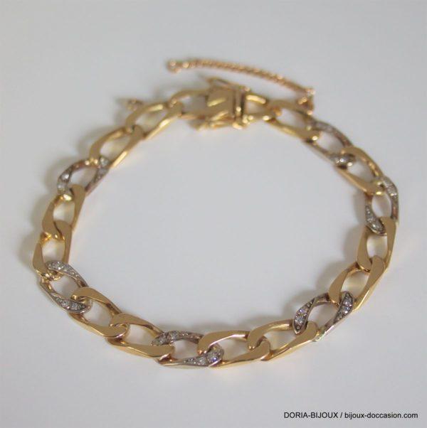 Bracelet Or 750 18k Et Diamants 18cm- 18.7grs